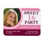 Imán plano de la foto del dulce 16 de la invitació