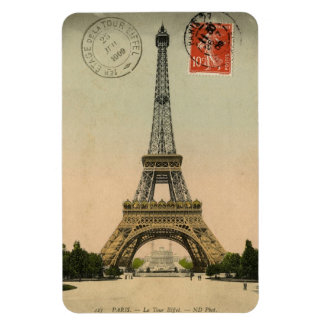 Imán - postal francesa 'Eiffel Tower del vintage