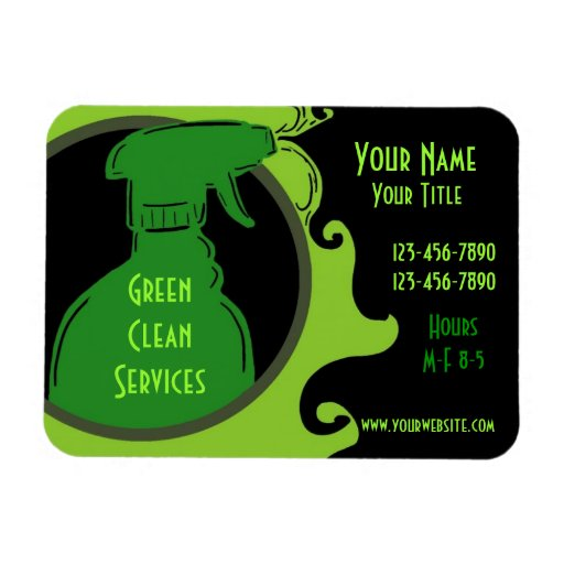IMÁN promocional del negocio del tema limpio verde