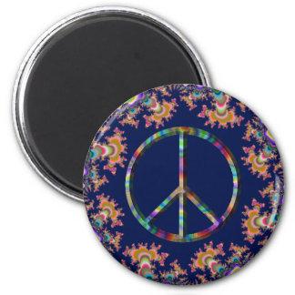Imán psicodélico del signo de la paz de la anémona