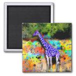 Imán psicodélico púrpura de la jirafa