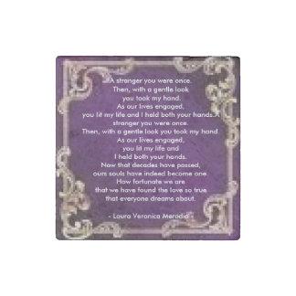 Imán púrpura de la piedra del poema del amor imán de piedra