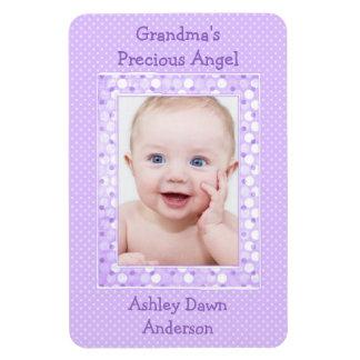 Imán púrpura de la plantilla de la foto del bebé d