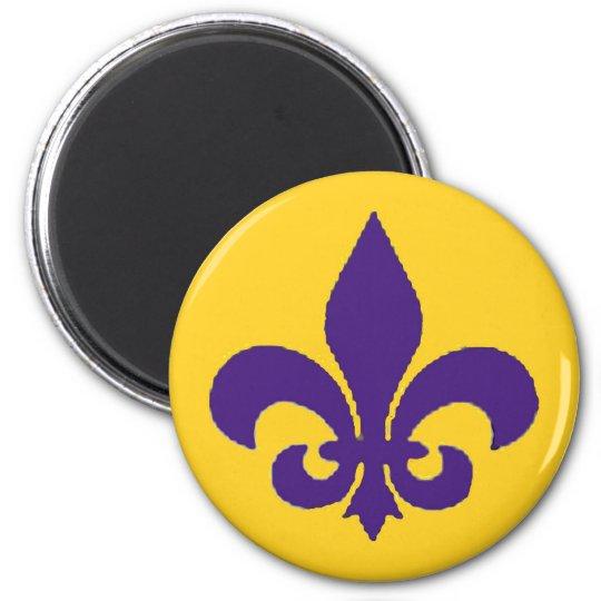 Imán púrpura del oro de la flor de lis de Luisiana Imanes