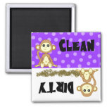 Imán púrpura limpio/sucio del mono lindo del lavap