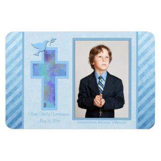 Imán rayado azul de la foto de la comunión santa d