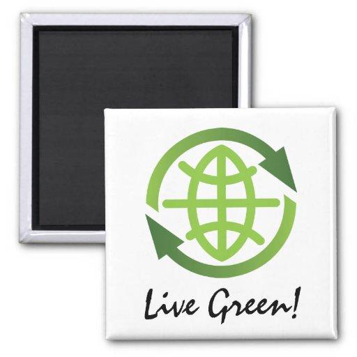 Imán: Reciclaje de símbolo con símbolo de la tierr