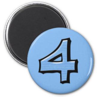 Imán redondo azul del número 4 tontos