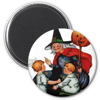 Imán redondo de Halloween del vintage