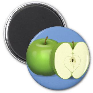 Imán redondo de la manzana verde