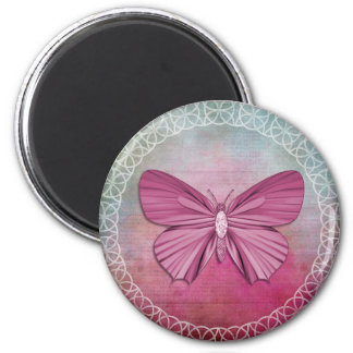 Imán redondo de la mariposa 2 de la pulgada rosada