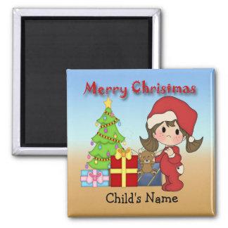 Imán redondo de la niña pequeña del navidad