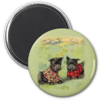 Imán redondo de Terrier del escocés del vintage