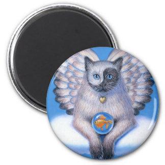 Imán redondo de Yin gatito Yang del ángel del ga