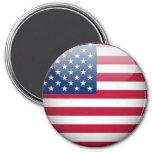 Imán redondo del botón de la bandera americana de