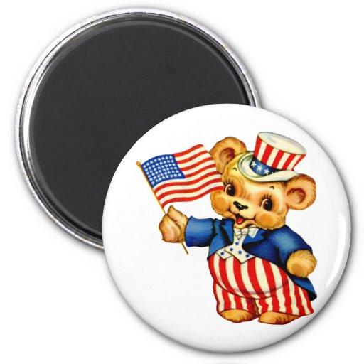 Imán redondo del oso patriótico del vintage