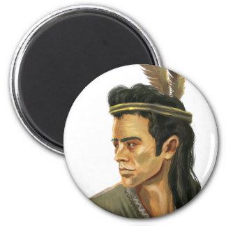 Imán redondo del retrato del guerrero del Mohican