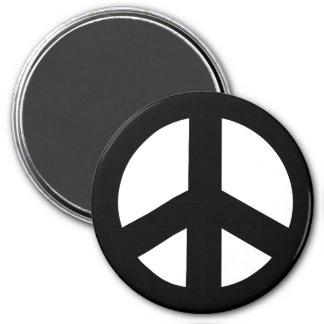 Imán redondo del signo de la paz, negro en blanco