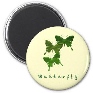 Imán redondo del trío verde de la mariposa