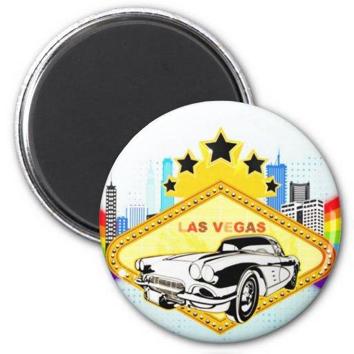 Imán redondo del vector fresco de Las Vegas