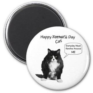 Imán redondo gruñón del día de padre del gato