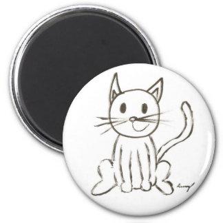 Imán redondo pintado del gatito