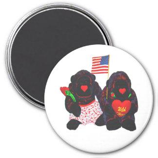 Imán relleno de la bandera americana de dos gorila