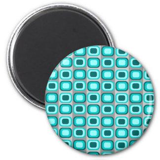 Imán retro azul de los cuadrados