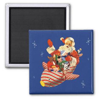 Imán retro de Rocket Santa del caramelo