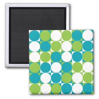 Imán retro del azul de los cuadrados