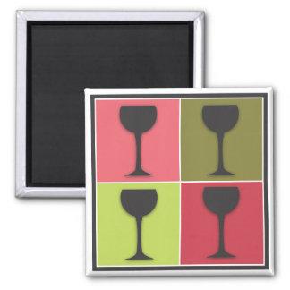 Imán retro temático del vino del arte pop de la co