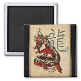 Imán rojo chino del cuadrado del dragón