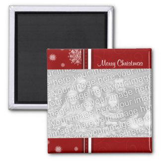 Imán rojo de la foto de las Felices Navidad