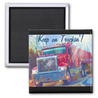 Imán rojo de Truckin de los conductores de camión