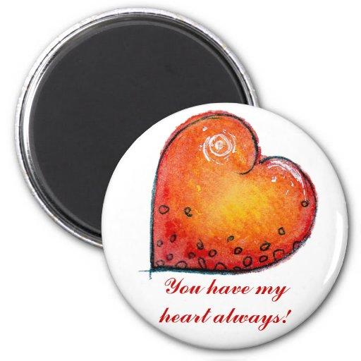 Imán rojo del corazón