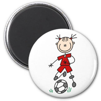 Imán rojo del jugador de fútbol del chica