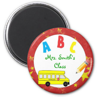 Imán rojo del profesor del autobús escolar