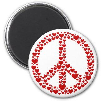Imán rojo del signo de la paz de los corazones