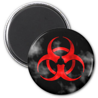 Imán rojo del símbolo del Biohazard que fuma