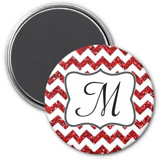 Imán rojo moderno de la inicial del monograma de C