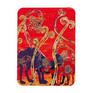 Imán rojo y azul de los camellos