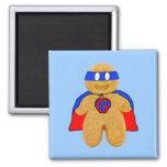 imán rojo y azul del superhéroe del hombre de pan
