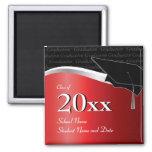 Imán rojo y negro adaptable de la graduación
