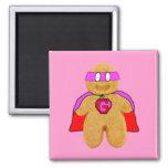 imán rojo y rosado del superhéroe del hombre de pa