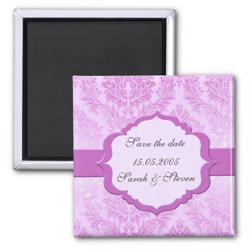 Imán romántico violeta de lujo de la fecha de la r