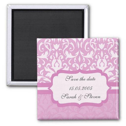 Imán rosa claro floral de lujo de la fecha de la r