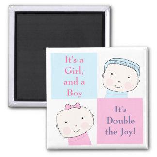 Imán rosado azul del bebé del chica gemelo del muc