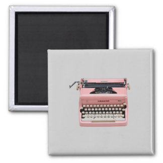 Imán rosado de la máquina de escribir del vintage
