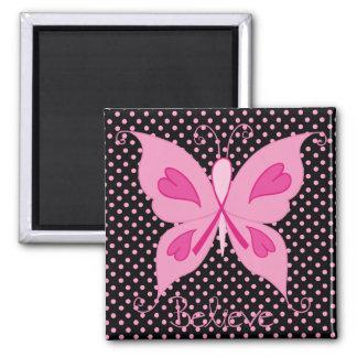 Imán rosado de la mariposa de la cinta
