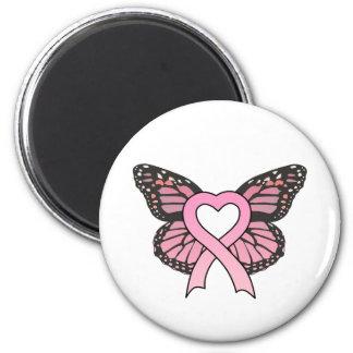 Imán rosado de la mariposa del corazón de la cinta
